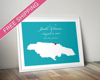 Personalized Jamaica Wedding Guest Book Poster - Custom Location and Map Print - Housewarming Gift