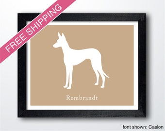 Personalized Ibizan Hound Silhouette Print with Custom Name - dog art, dog gift