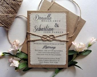 Rustic Wedding Invitation Blush Boho Script Calligraphy Fabric Knot Wedding Invitation  Burlap Fabric Rustic Wedding Knot Invitation Ideas