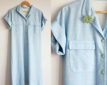 blue shift dress, plus size clothing, 70s clothing, long dress, shirt dress, collared dress, button down dress, size 12 dress, size 16 dress