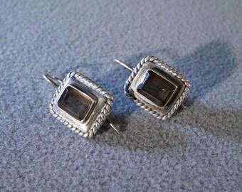 Vintage Sterling Silver 2 Rectangle Smokey Quartz Fancy Scrolled Pierced Euro Wire Earrings