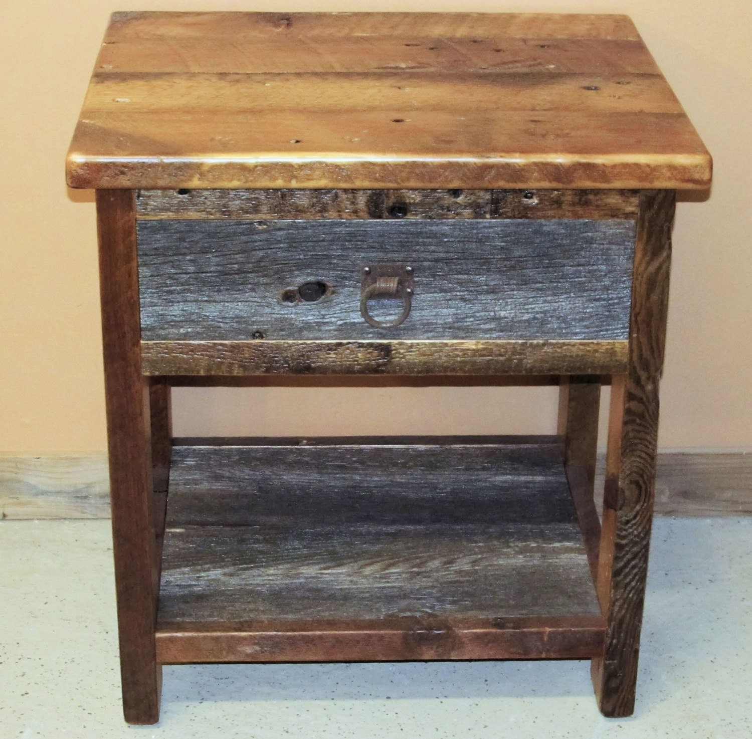 Barn wood night stand two tone