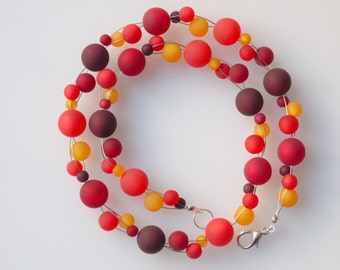 long red necklace polaris necklace red orange