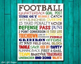Football Wall Art. Football Decor. Sports Decor. Football Party Decor. Kid Sports Decor. Football Wall Decor. Boy Room Decor. Sport Wall Art