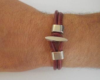 bracelet en cuir noir pour homme cadeau pour hommes par. Black Bedroom Furniture Sets. Home Design Ideas