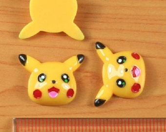 2/3/5 pc Pokemon Pikachu Resin Flat back Cabochon Hair Bow Center