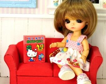 Nice wooden red Sofa or Loveseat for BJD dolls Lati Yellow Pukifee dolls diorama dollhouse furniture 1:12