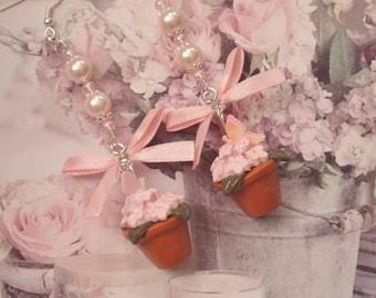 long earrings flowers pot