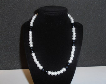 Soft White Glass Pearl 8 mm glossy round, Black Freshwater Pearl 8 mm Necklace 18 inches long,