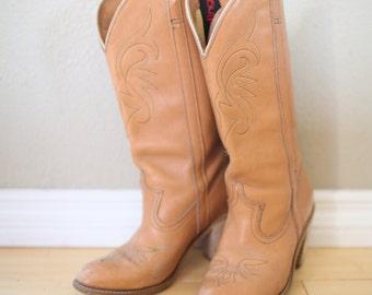 vintage dingo brown leather cowboy boots womens 6 1/2 *