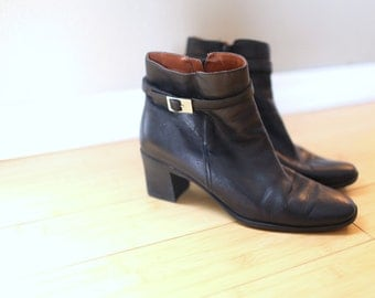 vintage black leather oxfords silver buckle  ankle boots slip on womens 9