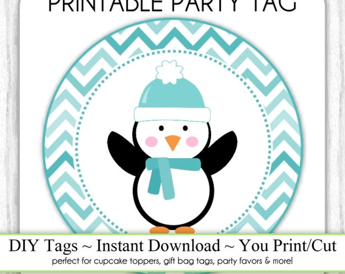 Instant Download - Teal Blue Chevron Penguin Printable Party Tags, Cupcake Topper, DIY, You Print, You Cut