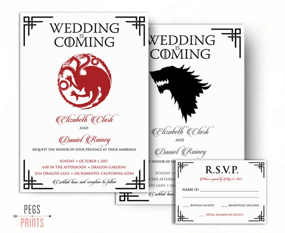 Extrêmement Dragon Wedding Invitation and RSVP Card Wolf Wedding AX38