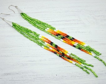 Lime Green Fire Long Beaded Earrings - Lime Green Beaded Fringe Earrings - Green Beaded Earrings - Jewelry Gift for Her