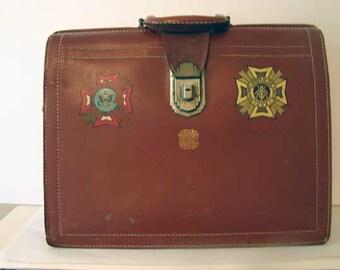 VFW briefcase, Vintage briefcase, Military briefcase, VFW men's leather briefcase, Veteran's of Foreign Wars, men's leather briefcase
