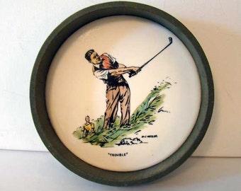 "Vintage M.C. Weiler ""Trouble"" golf bowl, M.C. Weiler, vintage golf home decor"