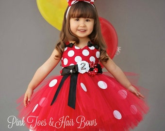 Red Minnie Mouse Tutu dress- Classic red Minnie Mouse tulle dress-Minnie Mouse dress- Minnie Mouse costume-Red Minnie mouse dress