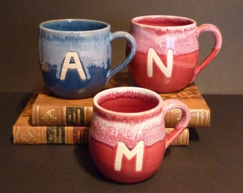 Children's Mugs! Handmade ceramic mug with initial.