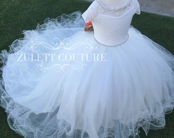Flower Girl Dress - Lace Dress - Big Bow Dress -Wedding Dres- Girls Lace Dress -  Karoliny Dress by Zulett Couture