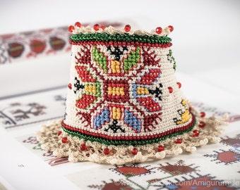 Crochet Bracelet Cuff. Bulgarian Embroidery Bracelet. Freeform Crochet. Crochet Jewelry. Beaded Bracelet. Hand Embroidered Bracelet