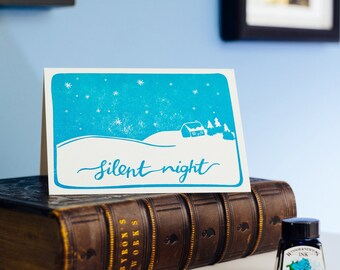 Silent Night Letterpress Christmas Card