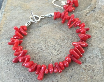Red Coral Bracelet and Earrings Set