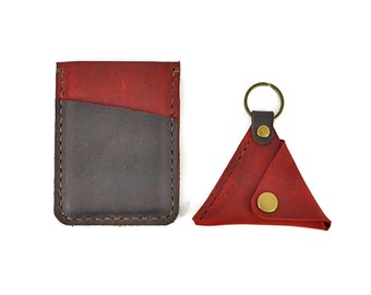 Handmade Leather Card Case, Coin Pouch, Key Ring Set, Gift Box