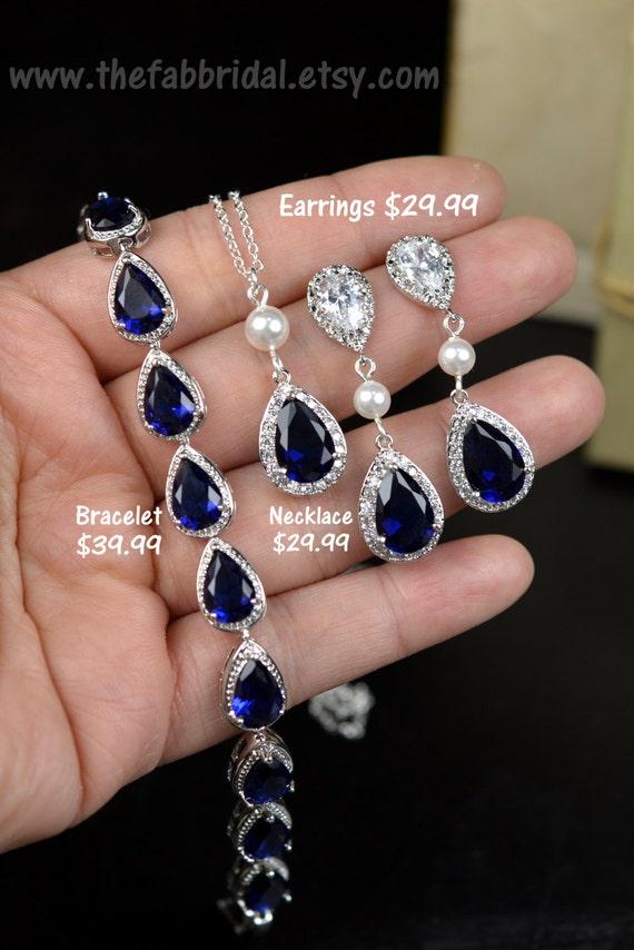 Blue Navy bluesapphire blue Wedding Jewelry Bridesmaid Gift