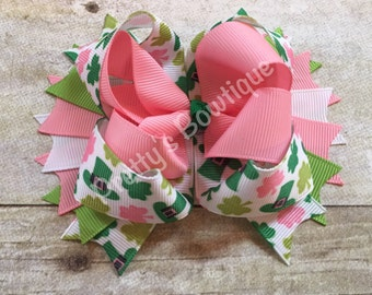 St. Patrick's  Bow -- Saint Patricks Bow -- St. Patricks Day Headband -- Pink, green, white