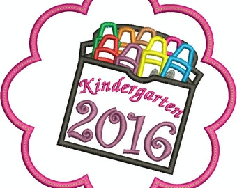Flower Kindergarten 2016 Box of Crayons Machine Embroidery Applique design 049