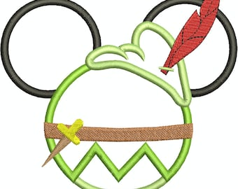 Character Inspired Neverland Prince Peter Mouse Head 2, Mouse Ears, Applique, Embroidery Design, Machine Embroidery Design 215