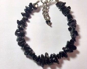 Baroque bracelet with  Black Tourmaline chips