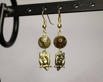 Gold Owl Pendant Earrings with Brown and Blue Swirl Beads