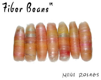 Mini Rolags - Fiber Beans - Peachy- spinning felting - merino wool silk tussah cultivated angelina sparkle peach orange pink yellow textile