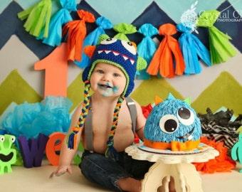 Crochet baby monster hat blue 0-5T