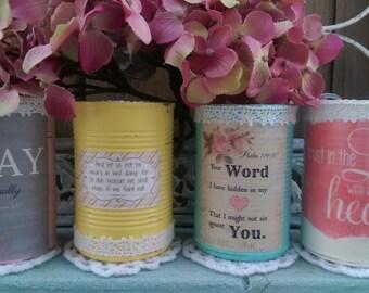 Shabby Chic Bible Verse Scripture Painted Cans Vases Centerpieces Crochet Doily Pink Yellow Blue White Decoupage Labels Lace Trim Gift Idea