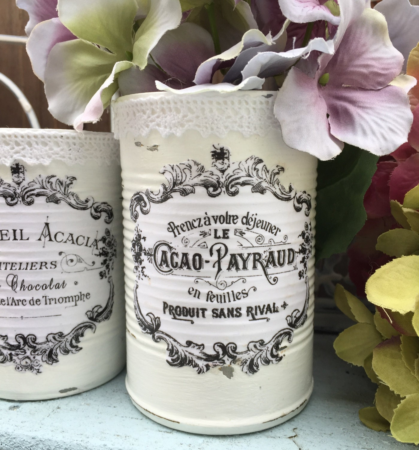 3 French Country Painted Lace Lacy Tin Cans Centerpieces Vases White Shabby Chic Typography