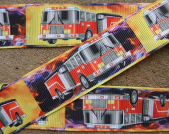 3 yards Fire Truck Ribbons 1 Inch Grosgrain Ribbon by the Yard for Hairbows, Scrapbooking