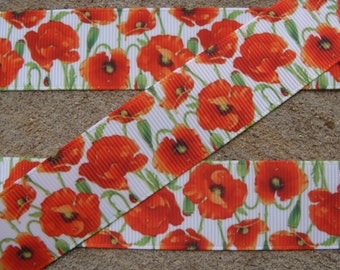 """1"""" Inch Red Poppy Grosgrain Ribbon - Grosgrain Ribbon by the Yard for Hairbows, Scrapbooking, and More!!"""