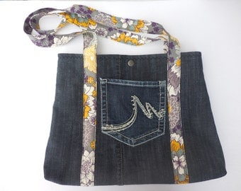 Upcycled Denim Shoulder Handbag, Denim purse, Hobo bag, Recycled Denim Tote, jean purse, handmade pocketbook, denim handbag