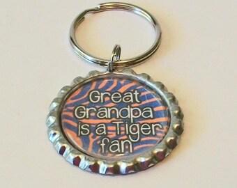Orange and Blue Tiger Stripe Great Grandpa is a Tiger Fan Grandfather Metal Flattened Bottlecap Keychain Great Gift