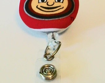 Red and Gray Buckeye Inspired Fabric Button Retractable Badge Reel Clip