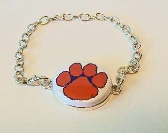 New Orange and White Paw Print Tiger Inspired Silver Chain Fashion Bracelet