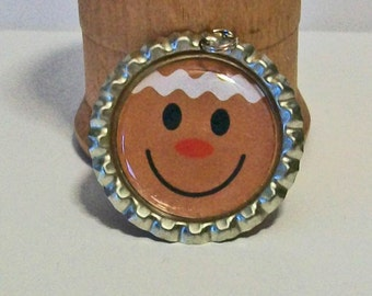 Christmas Fun Gingerbread Man Cookie Flattened Bottlecap Pendant Necklace