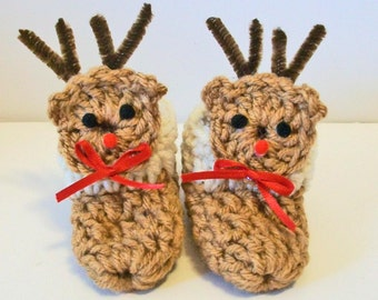 Adorable Red Nosed Reindeer Hand Crocheted Baby Bootie Shoes Great Photo Prop Matching Hat & Bib Also Available