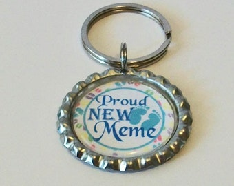 Light Blue Proud New Meme Grandmother Metal Flattened Bottlecap Keychain Great Gift