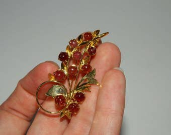 Vintage Gold Tone Purple Stone Cluster Brooch