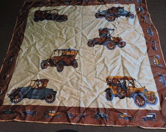 Vintage square scarf / headscarf with classic car design