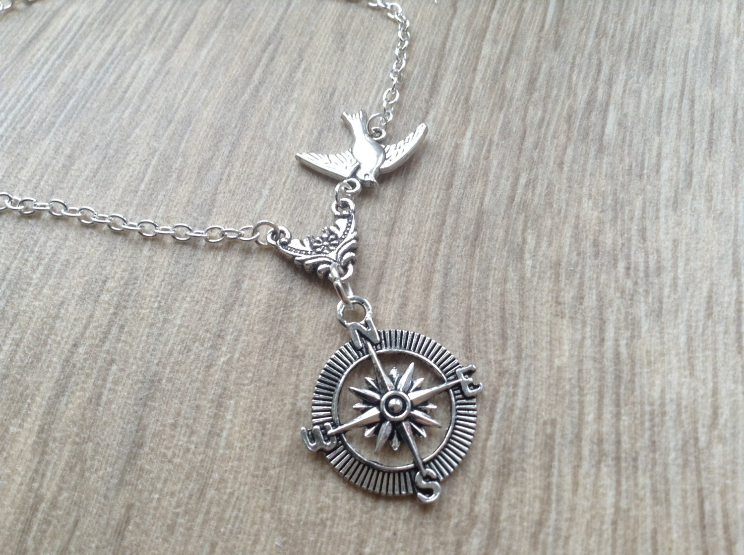 silver compass necklace friendship necklace silver compass