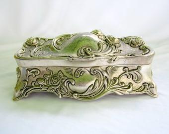 Metal Trinket Box Silver Toned Rectangle Stash Jewelry Box Chest